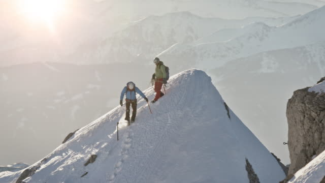 Males moving downhill from snowcapped mountain