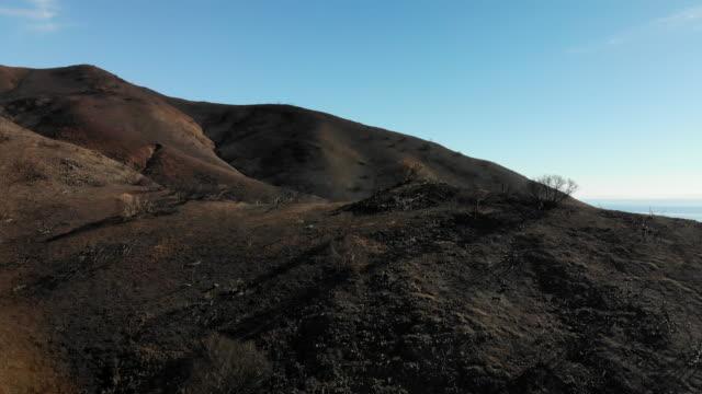 vídeos de stock e filmes b-roll de malibu wildfire fires burn areas - cinza