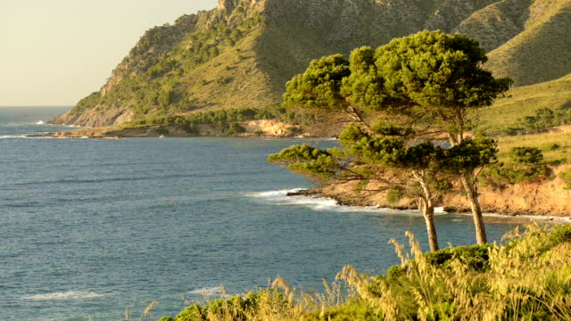 HD: Mallorca north shore at sunset video