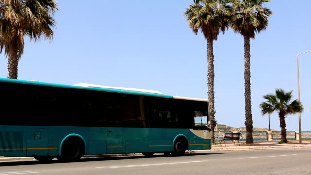 Malta bus on promenade video
