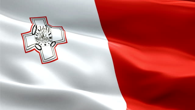 malta island flag motion loop video waving in wind. realistic maltese flag background. malta flag looping closeup 1080p full hd 1920x1080 footage. malta eu european country flags footage video for film,news - kiss filmów i materiałów b-roll