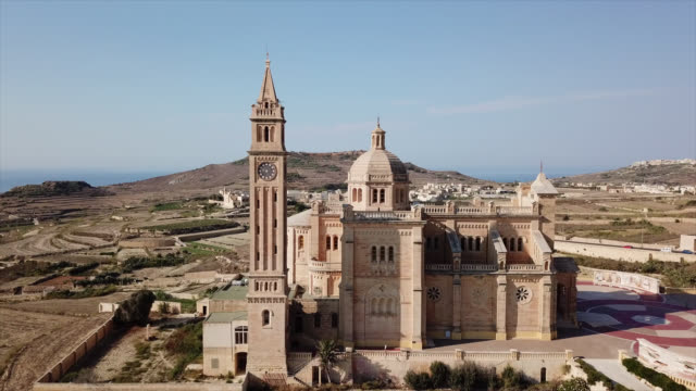 Malta Aerial view of the Ta'Pinu church. malta stock videos & royalty-free footage