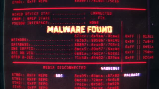 malware found text on screen, computer hacking, data theft, scam, phishing - spyware filmów i materiałów b-roll