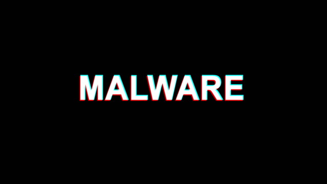 malware glitch effect text digital tv distortion 4k loop animation - spyware video stock e b–roll