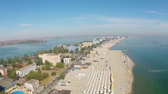 Mamaia is a top summer  travel destination on the Black Sea Coast , near Constanta city , Romania, Eastern Europe, aerial view