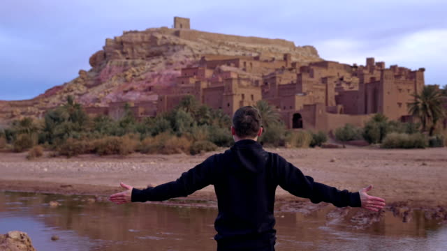 Man admiring majestic old buildings in Aït Benhaddou video