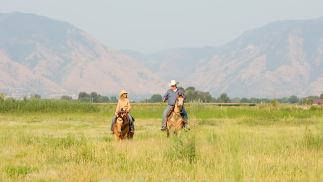 Man and a Teenage Girl Riding Horses Together Man and a teenage girl having fun riding horses together on the prairie with a mountain backdrop cowgirl stock videos & royalty-free footage
