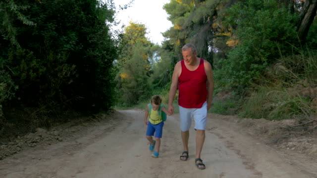 Man and Boy Hiking along the Country Road video
