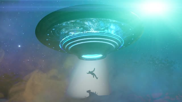 man and cow floating to inside of ufo alien ship. concept of alien abduction 3d render - alieno video stock e b–roll