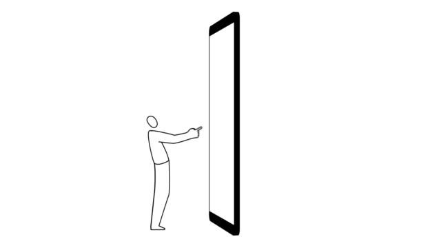 człowiek i telefon komórkowy - technika ilustracji filmów i materiałów b-roll