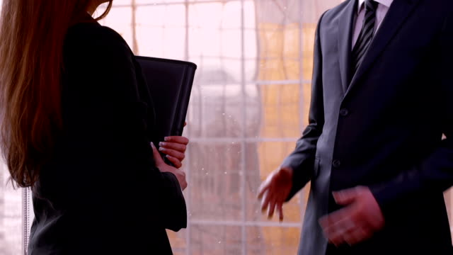 Man and woman agree to do business with handshake video