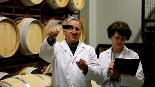 man and woman check quality of wine video