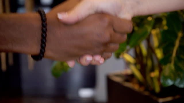Man and woman greet and shaking hands in company video
