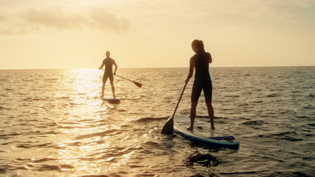 Man and woman paddling on their SUPs into the sunset