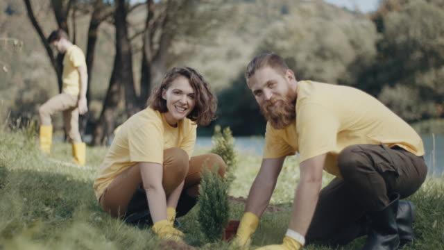 man och kvinna plantiing ett träd - välgörenhet bildbanksvideor och videomaterial från bakom kulisserna