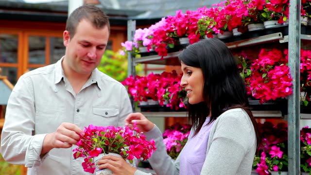 Man and woman standing in front of a flower shelf Man and woman standing in front of a flower shelf talking  plant nursery stock videos & royalty-free footage