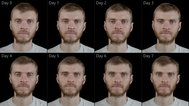 A man before and after of seven days of therapeutic dry fasting - without food and water, minus 9 kg A man before and after of seven days of therapeutic dry fasting (without food and water), minus 9 kg. fat nutrient stock videos & royalty-free footage
