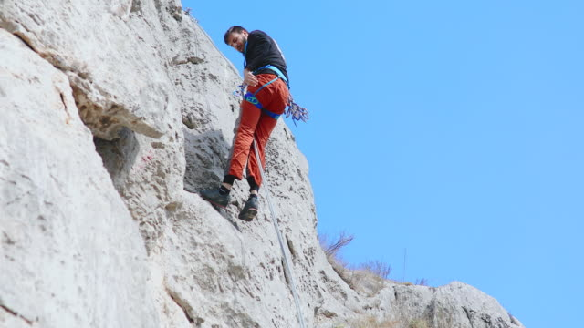 Man belaying from the cliff