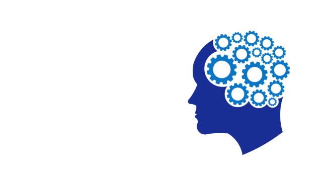 man brain gear connections, think, dream, mind improvement, creativity. video logo animation - testa video stock e b–roll