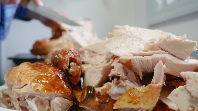 Man Carving Roasted Turkey for Thanksgiving Holiday Meal in 4k