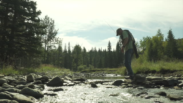 man casts fly fishing line into mountain stream - grandangolo tecnica fotografica video stock e b–roll