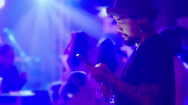 Man chatting in social media on smart phone