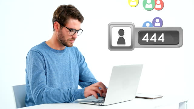 man checking his laptop for followers 4k - rappresentazione umana video stock e b–roll