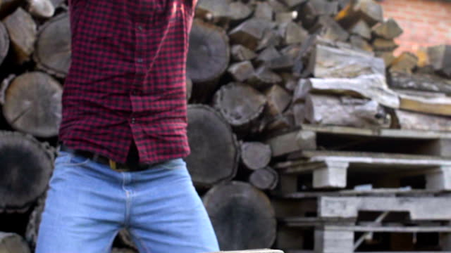 Man chopping wood with axe, slow motion shoot video