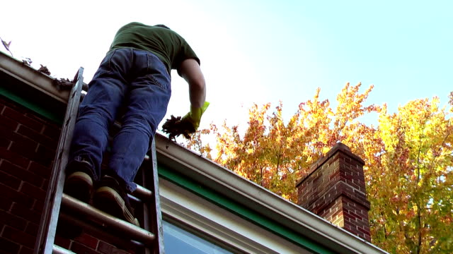 Man Cleaning Out Leaves from Gutters in Autumn video
