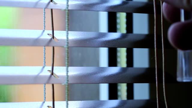 man closes jalousie - store filmów i materiałów b-roll