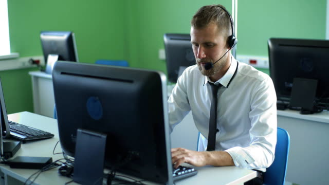 man customer service in call center video
