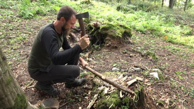 vidéos et rushes de homme coupe une branche dans la forêt - un seul homme d'âge mûr