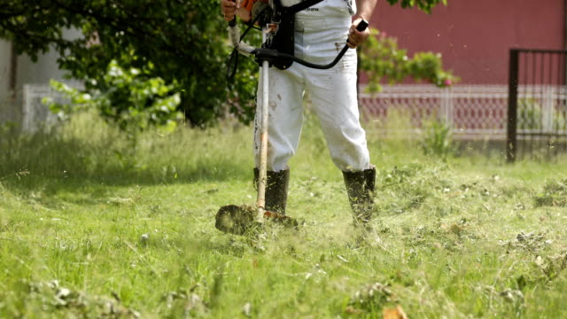 Man cutting the grass with a lawnmower video