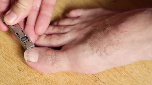 человек резки ногти - фондовый видео - white background стоковые видео и кадры b-roll