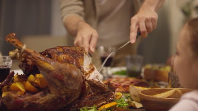 человек резка турции - thanksgiving turkey стоковые видео и кадры b-roll