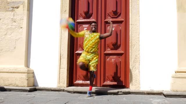 Man dancing Brazilian Frevo