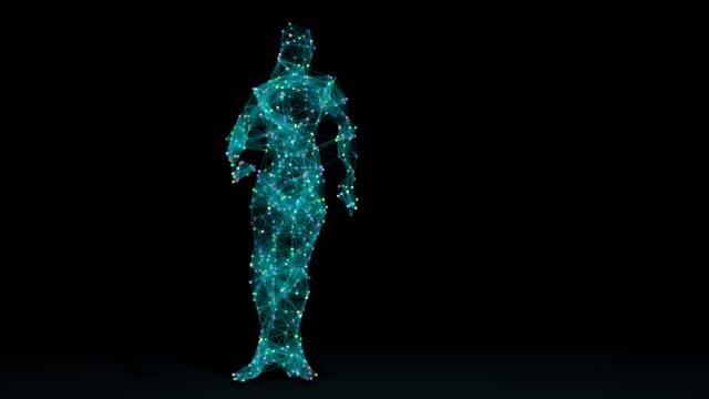 mann tanzen im drahtgittermodell zeichnen mit daten - menschlicher kopf stock-videos und b-roll-filmmaterial