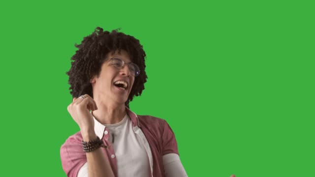 Man dancing over green background video