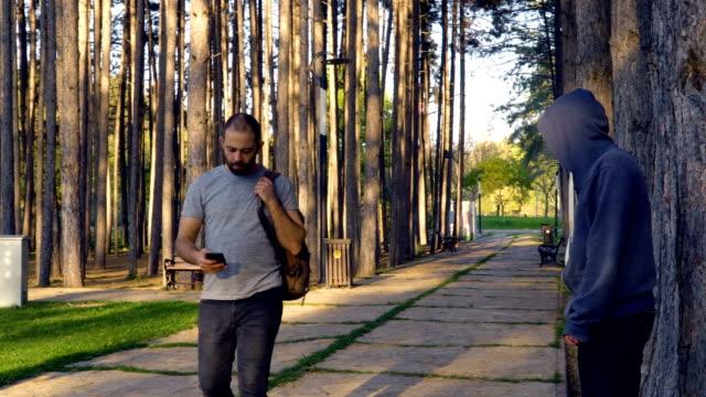 man defending himself applying skill of martial arts in public park - sacco per il pugilato video stock e b–roll