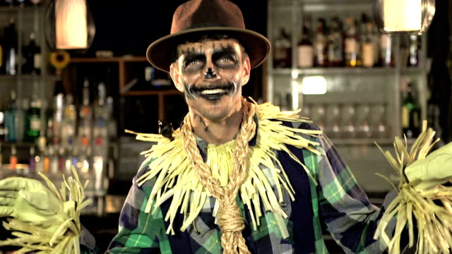 Man dressed up as a scarecrow video