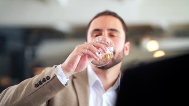 mann trinkt sekt in einem restaurant - winzer sitzend trauben stock-videos und b-roll-filmmaterial
