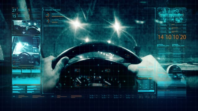 A man driving a car on the road. Tracking system