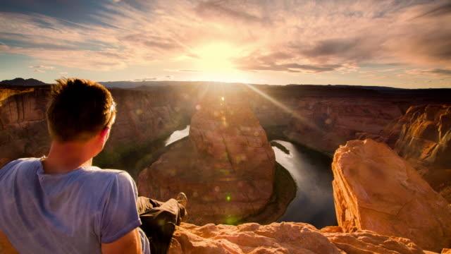 POV Man enjoying a view over the Horseshoe Bend video