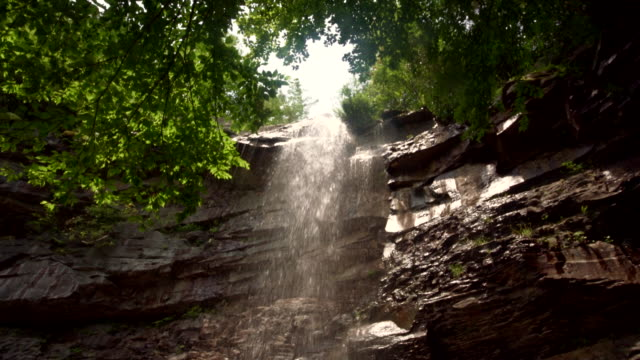Man enjoying Glen Onoko Falls in the Lehighton State Park, near by Jim Thorpe. Pennsylvania, USA. video