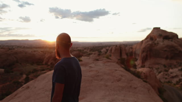 Man enjoys nature in the Southwest USA, Moab