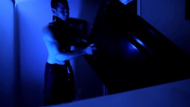 man enters sensory deprivation tank
