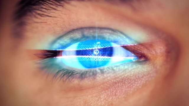 man eye looking on digital virtual screen man eye looking on digital virtual screen cyborg stock videos & royalty-free footage
