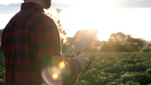 Hombre agricultor piloto con mando a distancia robot al atardecer - vídeo