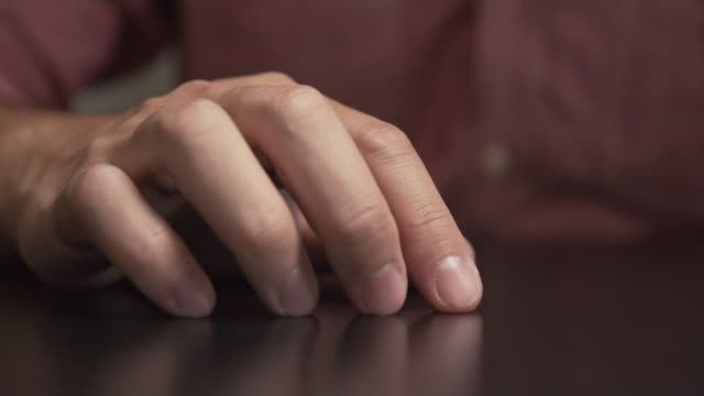 Man feel nervous and tapping his finger on the table.worry,depress Asian man felling nervous act by tapping his fingers on the table.worry,depress finger stock videos & royalty-free footage