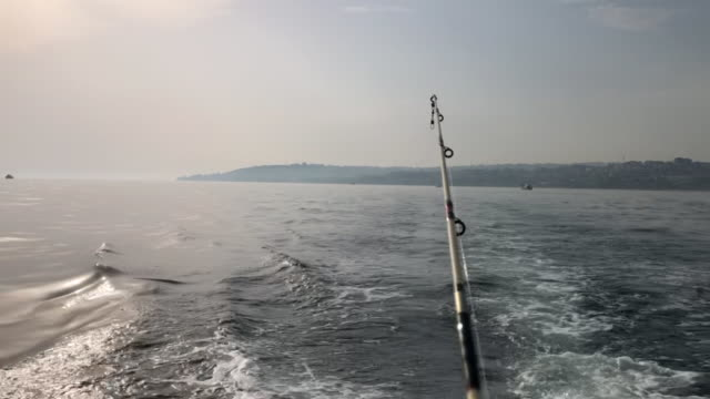 Man fishing in the sea Man fishing in the sea fishing rod stock videos & royalty-free footage